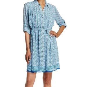 Max Studio Blue Woven Shirt Dress Size, M